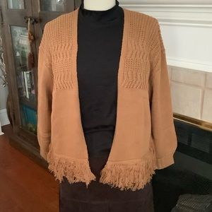 Fringed cardigan mustard color size m oversized